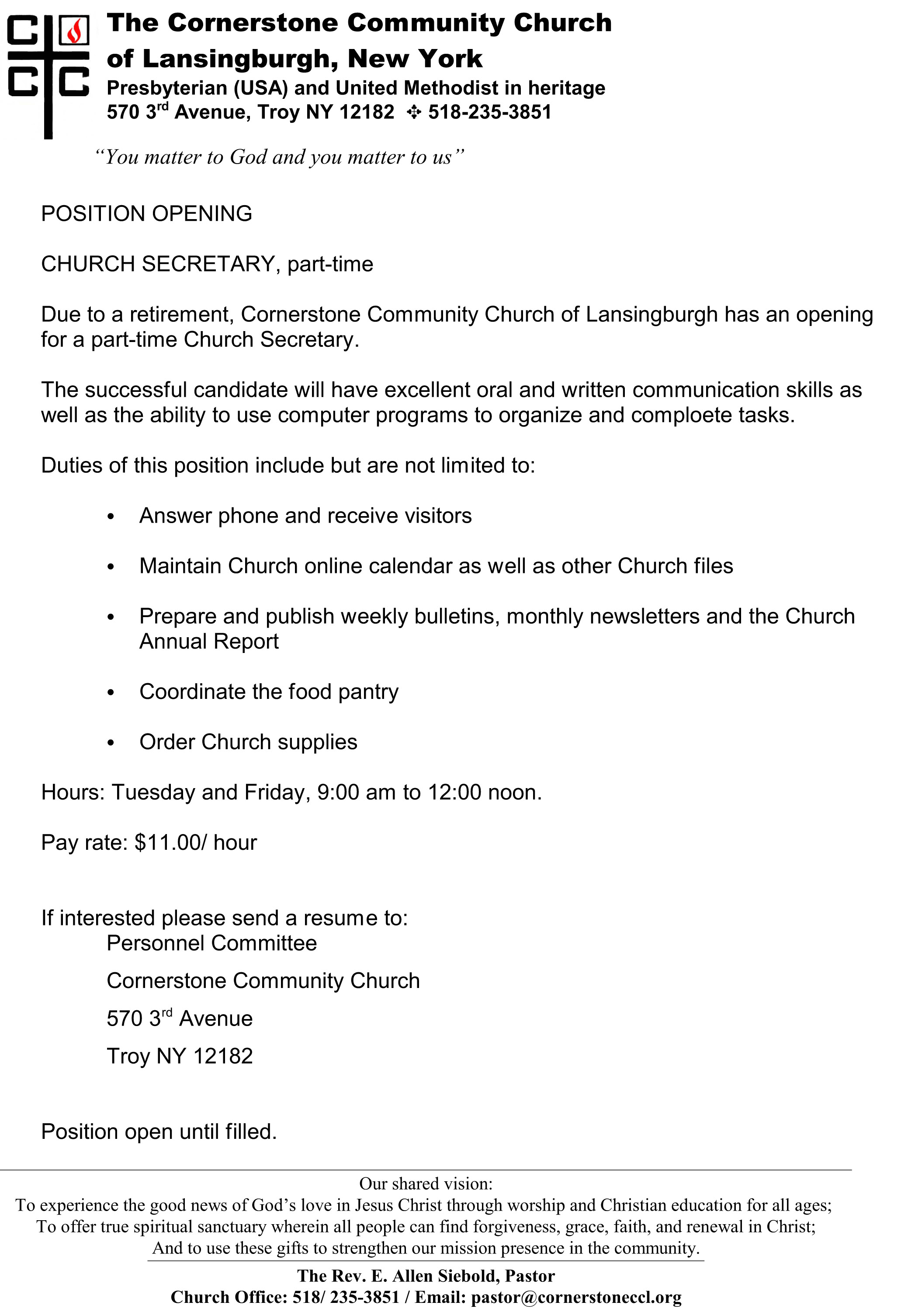 Position Opening-Church Secretary part-time